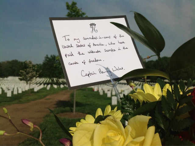 prince harry leaves note to fallen soldiers at arlington cemetery dcist dcist