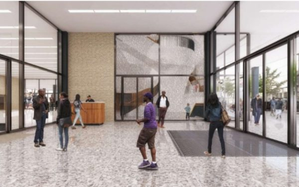 Architect's rendering of MLK Library vestibule